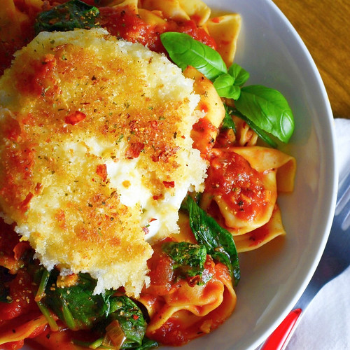 Tomato and Spinach Pasta with Golden Mozarella 2