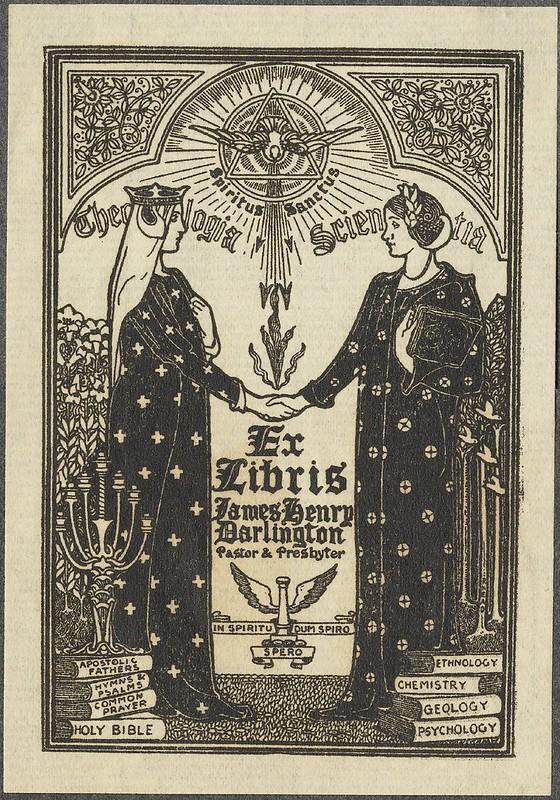 Art Nouveau ex libris ilustração - imagens teosófica + 2 mulheres em mu-mu vestidos rituais estilo