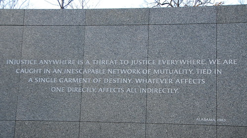 image of wall at Martin Luther King Jr. Memorial in Washington DC. Inscription on wall reads