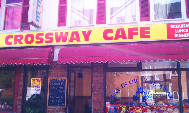 The Crossways Cafe in Peckham, London. Delightfully greasy.