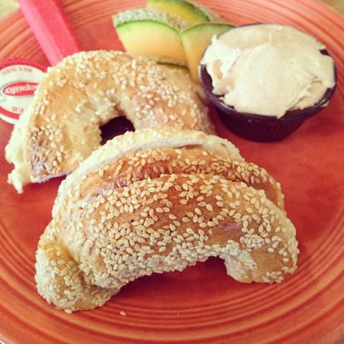 Sesame bagel with apple cinnamon cream cheese (St Viateur Bagels, Montreal)