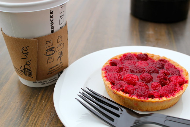 Raspberry tart and a coffee (filter coffee with an extra shot)