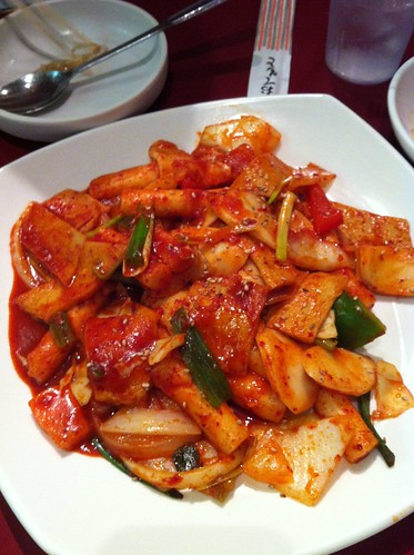 stir fried rice cake with seafood