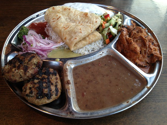 Turkey kebabs & chicken tikka masala thali plate - Kasa Indian Eatery