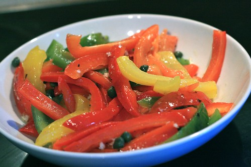 three colors bell pepper salad