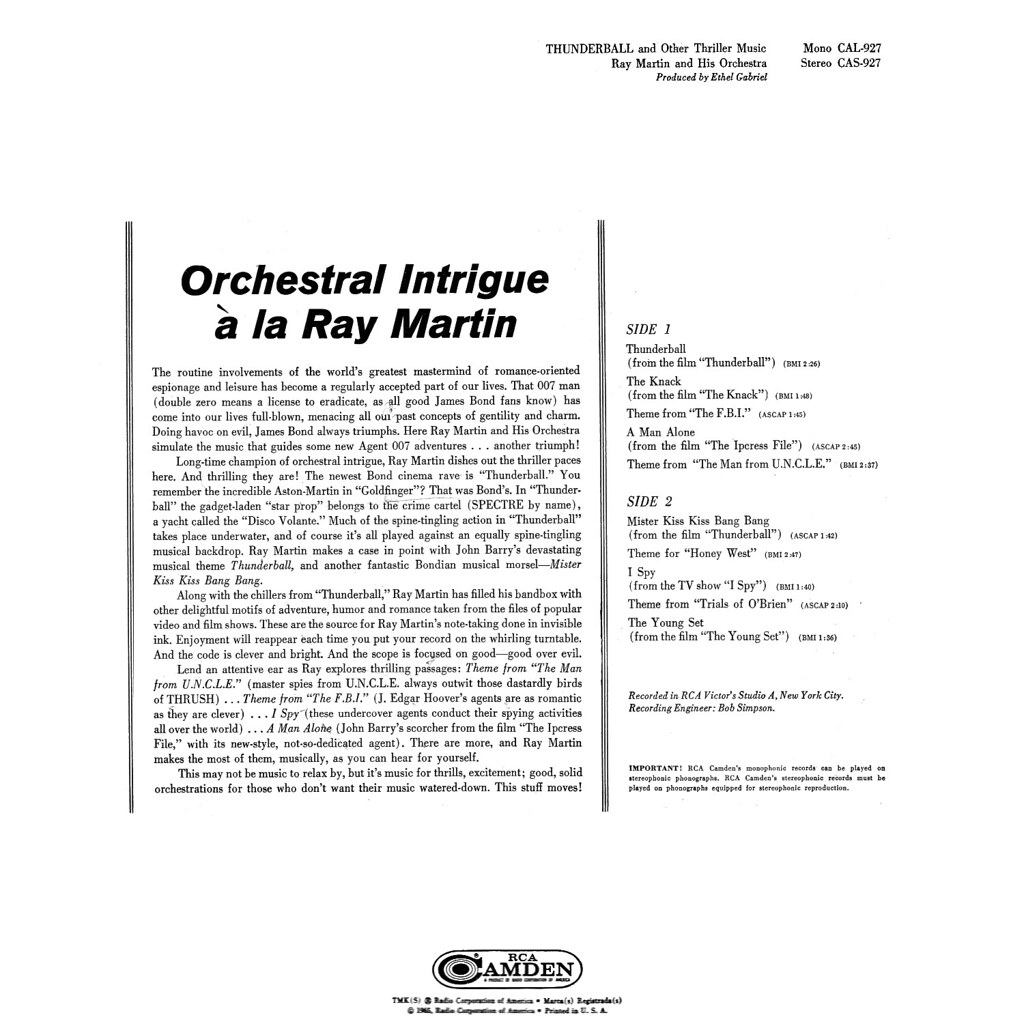 Ray Martin - Thunderball and Other Thriller Music