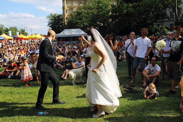 First dance, in front of a crowd...