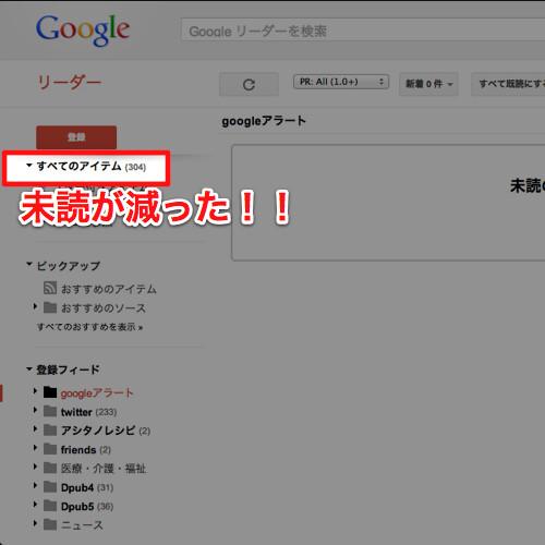 Googleリーダーの未読も減った!!