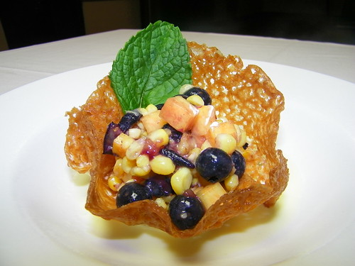 Corn Cup Tuille with Whipped Corn Cream, NC Peaches, Blueberries, Corn & Corn Crème Anglaise