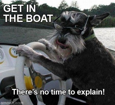 Get in the boat! there's no time to explain!