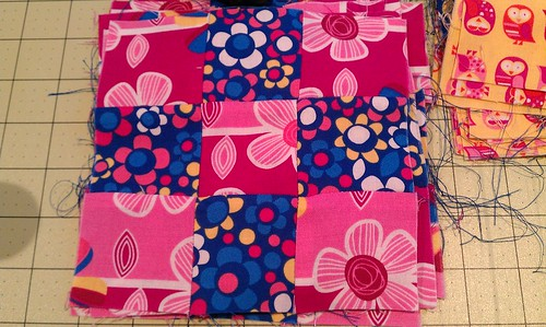 Pink and blue squares by Miss Knotty