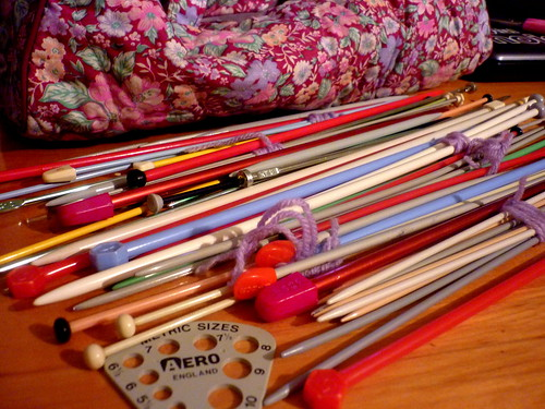 My collection of straight knitting needles!