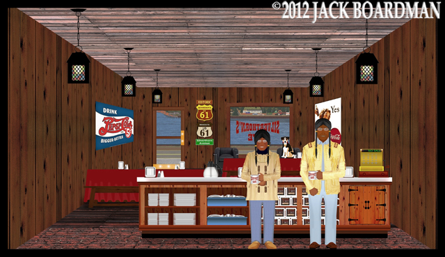 Hiram & Kiwi at Silverthorn's Café 2012 ©2012 Jack Boardman