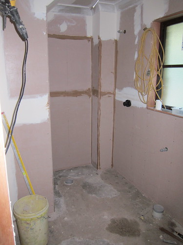 The new laundry/bathroom is beginning to look like a room again