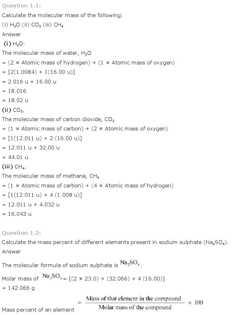 Class 11th Chemistry Solutions Chapter 1 Some basic Concepts of Chemistry http://freehomedelivery.net/