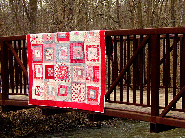 Red + Gray quilt on the bridge