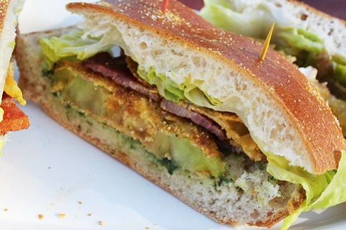 Kevin's Fried Green Tomato Club Sandwich