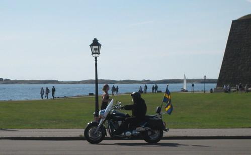 Patriotic biker in Varberg