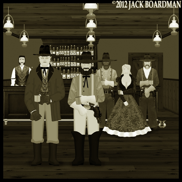 Erik approached by McLintock at the Dreadwood Saloon ©2012 Jack Boardman