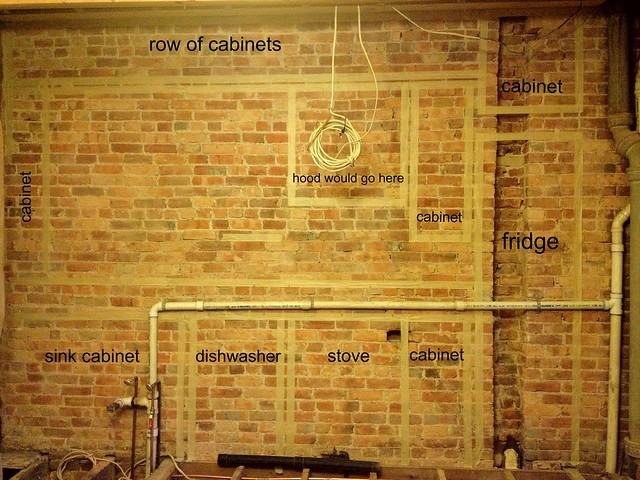 kitchen, main wall with labels