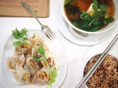 Steamed Dumplings, Miso Soup, Brown Rice, Real Food Cafe, The Central