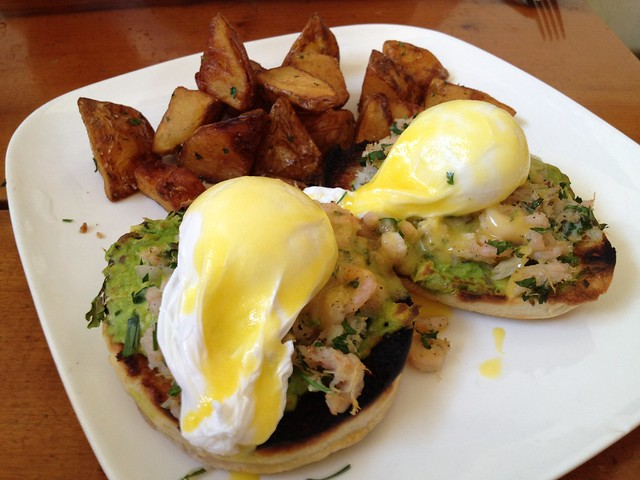 Dungeness crab and bay shrimp benedict - Mission Beach Cafe
