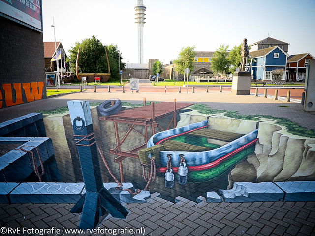 Maritiem archeologische 3D Streetpainting Lelystad (26-07-2012).