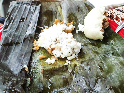 sticky rice (steamed in a banana leaf) and half a bao