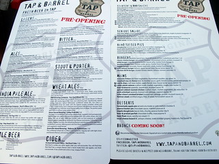 Tap and Barrel Pre-Opening Menu