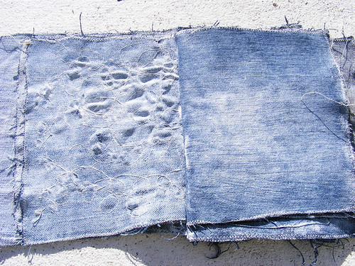 Denim book pages - crazy stitching and gessoed