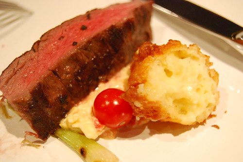 Medium seared rib eye, cheese fritter and apple pimento cheese