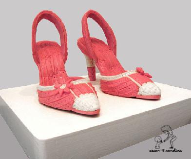 escultura zapatos goma mascar