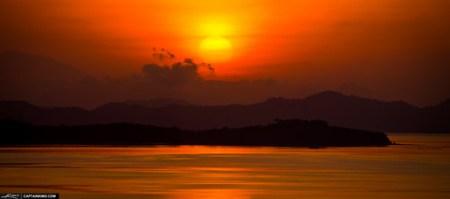 Golden Morning Sunrise Over Phuket Mountains Thailand