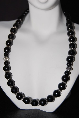 Obsidian and Silver Necklace