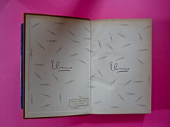 Gore Vidal, La città perversa, Elmo editore 1949. (copia 2) Verso della cop. e carta di guardia anteriore (part.), 1
