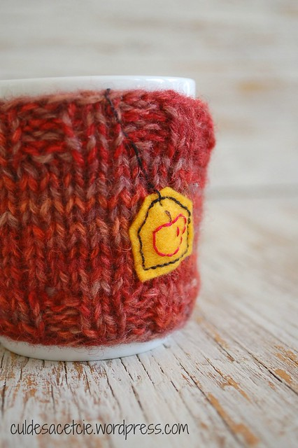 coffee cozy, reclaimed yarn