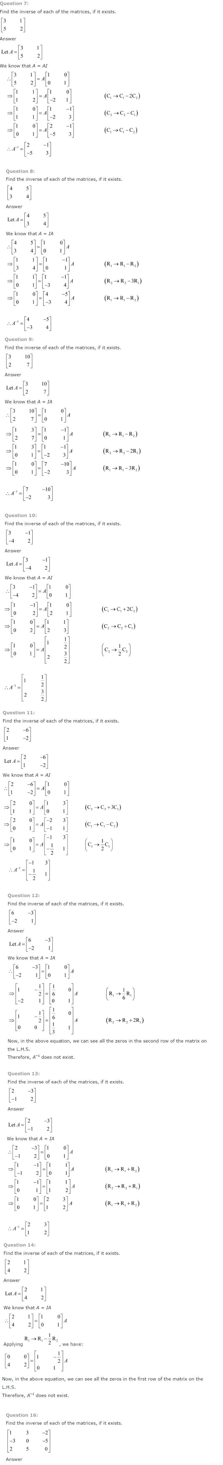 NCERT Solutions for Class 12 Maths Chapter 3 Matrices ex 3.10