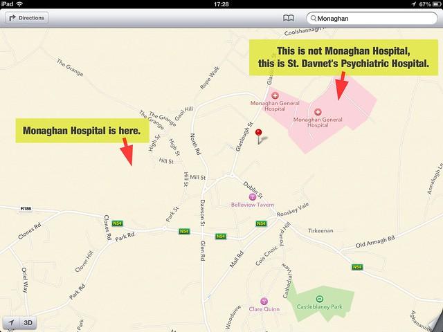 monaghan hospital on apple maps
