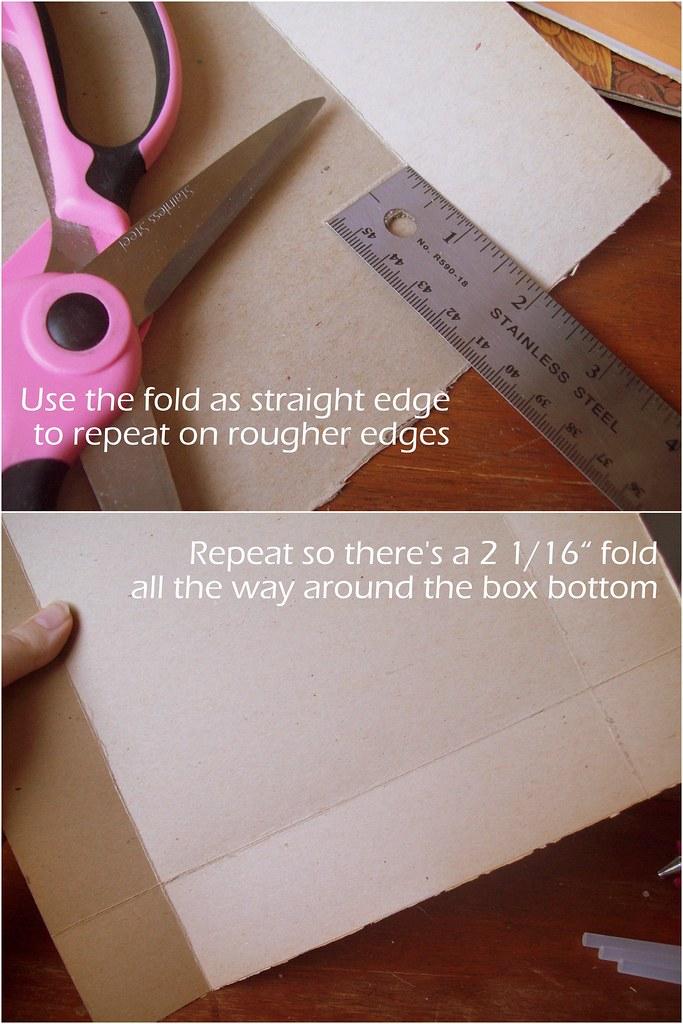 Repeat scoring all the way around the box bottom