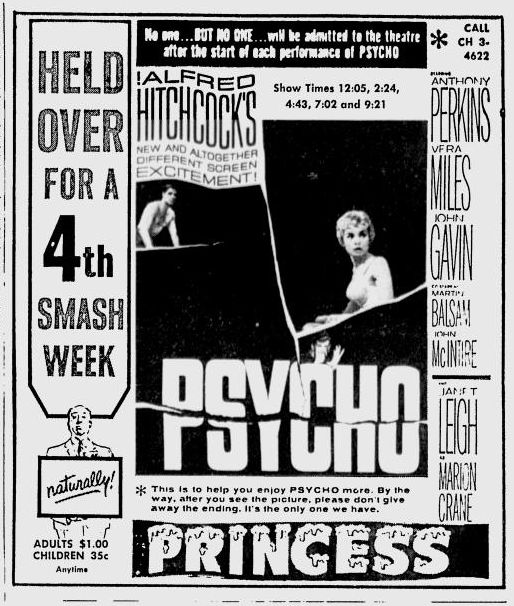 Psycho newspaper ad