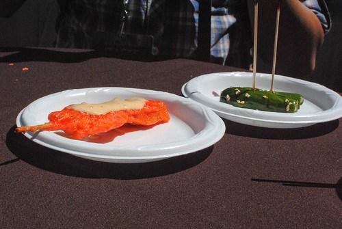 Mr. Chow chicken satay; shanghai cucumber