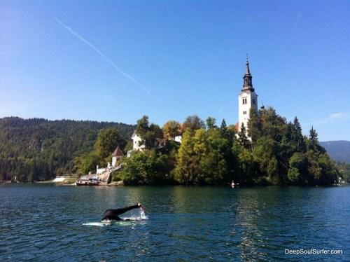 SharSkin Duck dive Training, Lake Bled, Slovenia