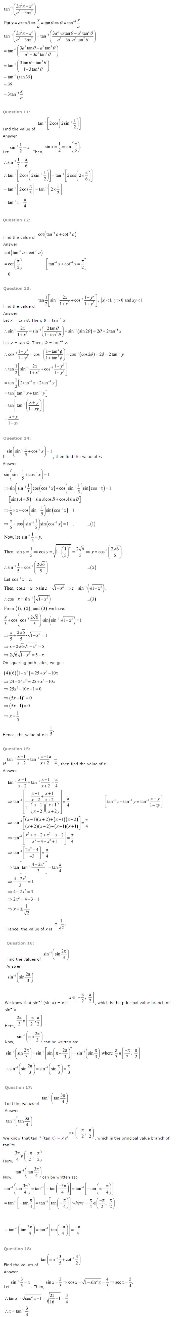 NCERT Solutions for Class 12 Maths Chapter 2 - Inverse