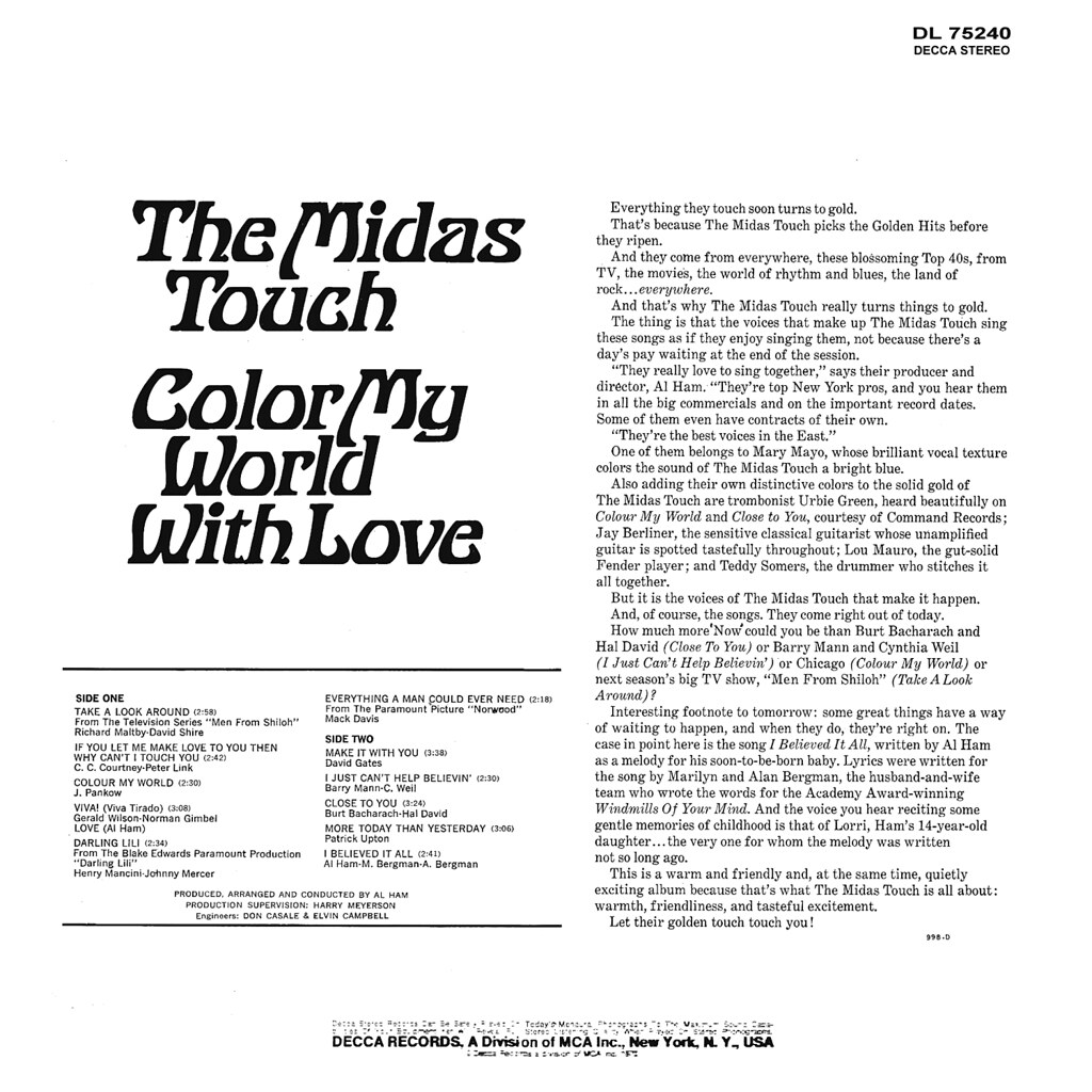 The Midas Touch - Color My World With Love