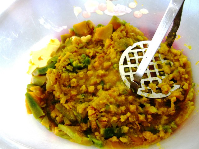 Pumpkin boiled and mashed