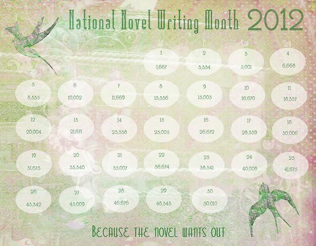 NaNoWriMo Calendar 2012 No Telling D