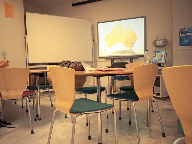 classroom, waiting for students