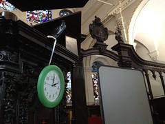 Clock hung by a ladle