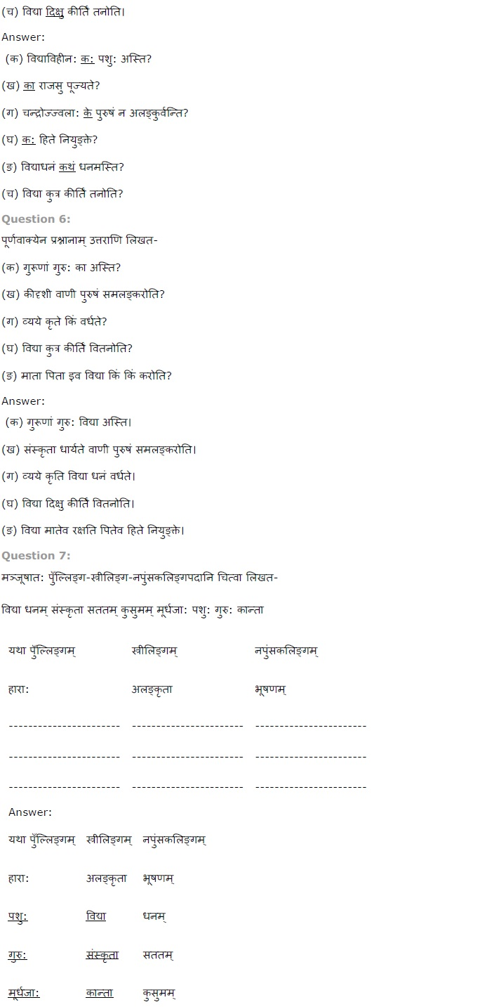 NCERT Solutions For Class 7th Sanskrit Chapter 12 कल्पलतेव विद्या PDF Download