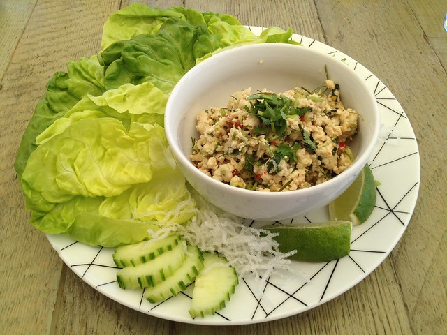 Chop chicken larb cups - Jiao